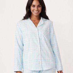 La Vie En Rose Cotton Blue Plaid Flannel PJ M NWT